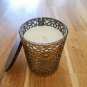 Bougie Marrakech en verre et cuir